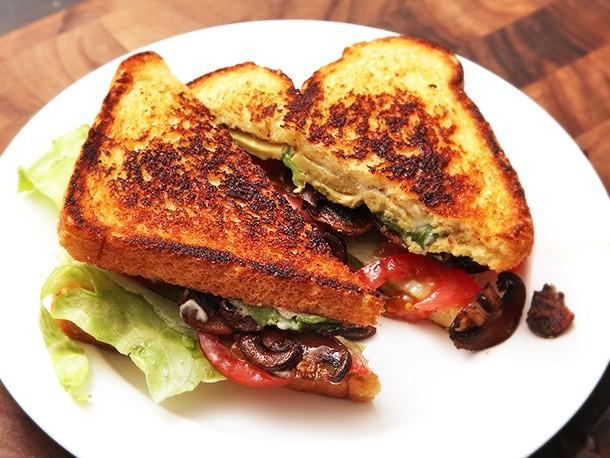 "Vegan ""B.L.A.T.""s: Lettuce, Tomato, Avocado, and Crispy Smoked Mushroom Sandwiches Recipe"
