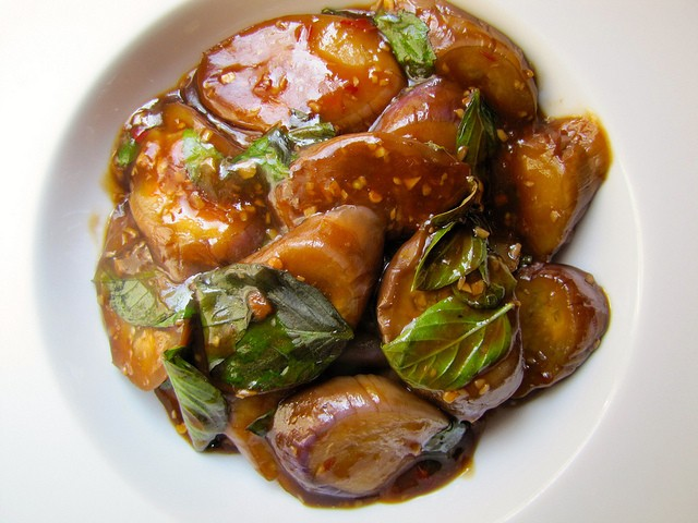Braised Eggplant With Garlic and Basil Recipe
