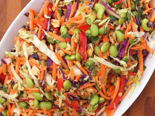 Asian Slaw with Ginger Peanut Dressing Recipe