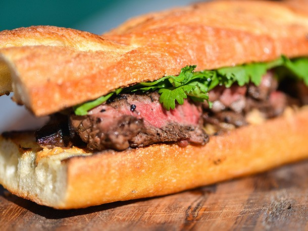 Grilling: Jalapeño-Marinated Steak Sandwiches With Charred Onions and Cotija Mayo