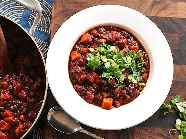 Vegan Sweet Potato and 2-Bean Chili With Hominy Recipe