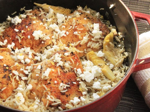 One-Pot Wonders: Greek-Style Rice Pilaf With Chicken Thighs