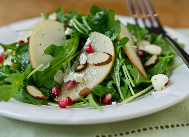 Arugula, Apple, and Pomegranate Salad with Cider-Honey Vinaigrette Recipe