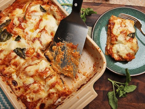 Summer Vegetable Lasagna With Zucchini, Squash, Eggplant, and Tomato Recipe