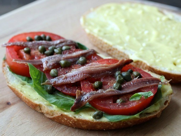 Sandwiched: Anchovy, Basil, and Tomato Sandwiches with Aioli