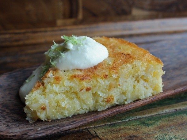Flourless Bitter Lime Coconut Macaroon Cake with White Chocolate Whipped Cream Recipe