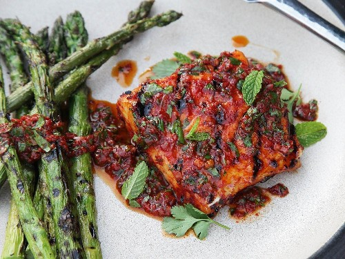 Red Curry-Rubbed Grilled Halibut With Curry Vinaigrette Recipe