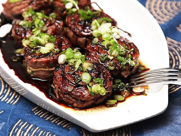 Grilled Stuffed Flank Steak With Scallions, Ginger, and Teriyaki Glaze