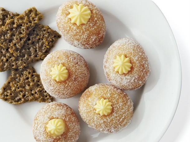 Bake the Book: Lemon Cream Bomboloni with Rhubarb Chutney and Pistachio Florentines