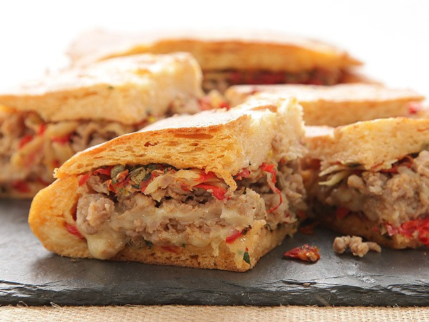 Italian Sausage and Fontina Shooter's-Style Sandwich With Sun-Dried Tomato-Caper Relish Recipe