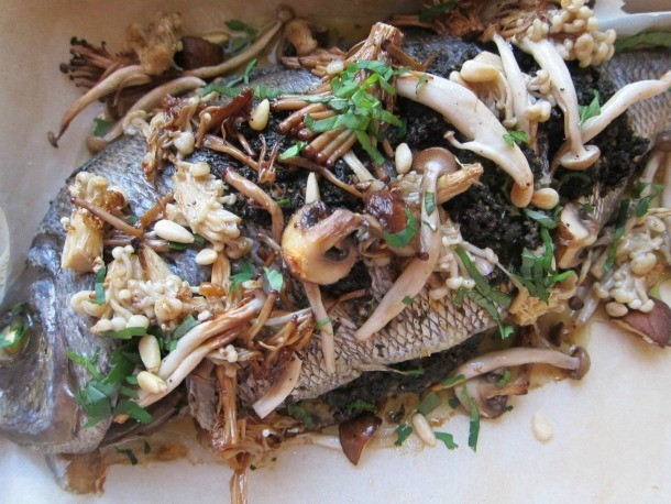 Whole Roast Fish for 2 With Mushroom Pesto and Roasted Wild Mushrooms Recipe