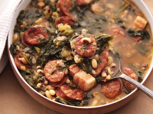 Hearty One-Pot Black-Eyed Pea Stew With Kale and Andouille Recipe