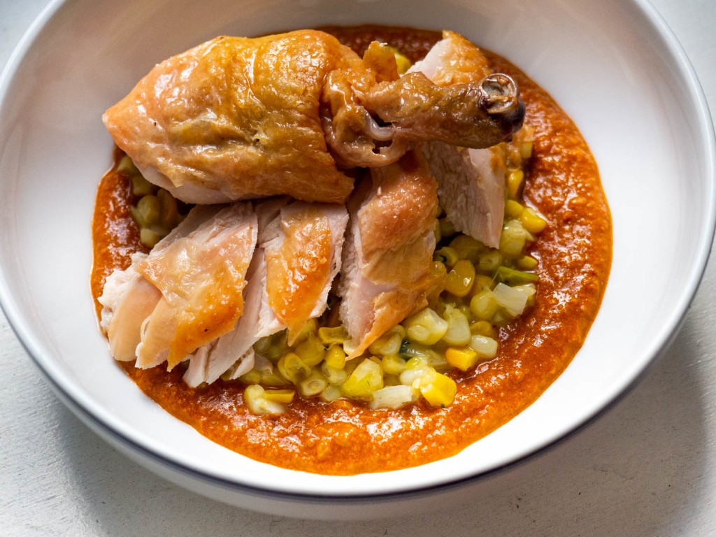 Roast Chicken With Romesco and Creamy Corn Recipe
