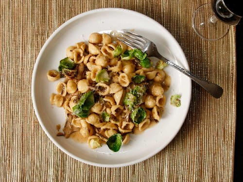 Pasta With Mushrooms, Brussels Sprouts, and Parmesan Recipe