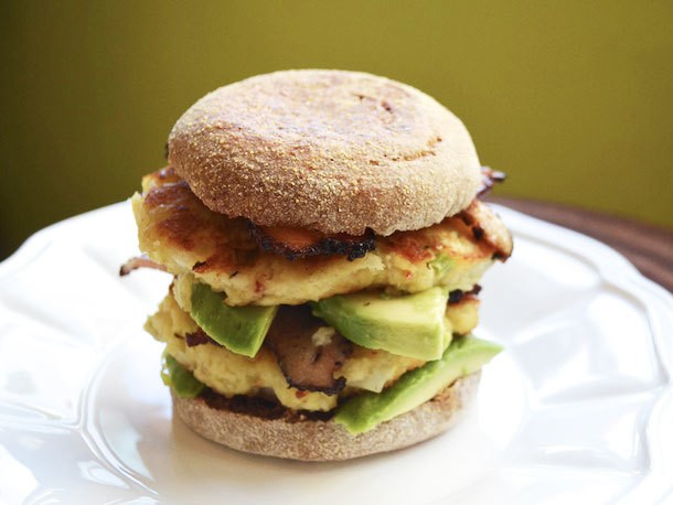 Sunday Brunch: Double Stacked Crab Cake Sandwiches with Avocado and Bacon