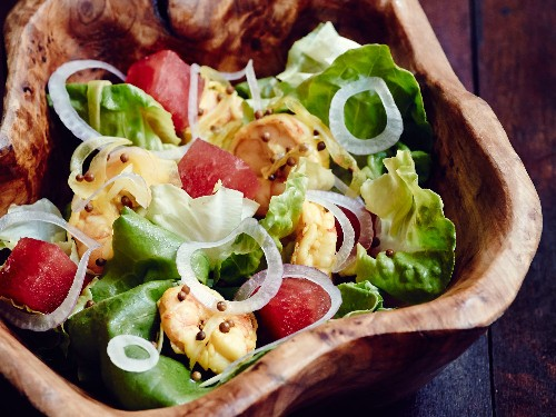 Watermelon and Red Onion Salad With Bibb Lettuce, Pickled Shrimp, and Jalapeño Vinaigrette From 'Heritage'