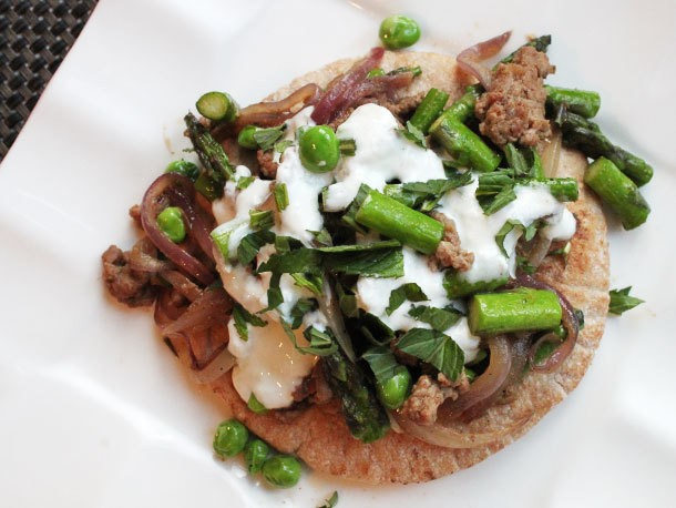 Skillet Suppers: Ground Lamb with Asparagus, Peas, and Tzatziki Sauce