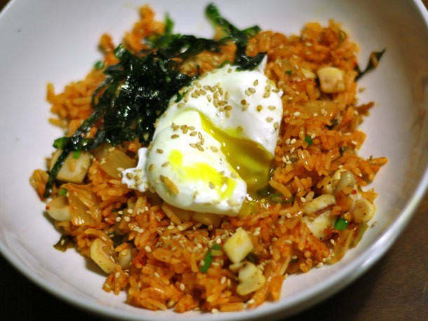 Dinner Tonight: Kimchi Fried Rice With Sautéed Squid and a Poached Egg