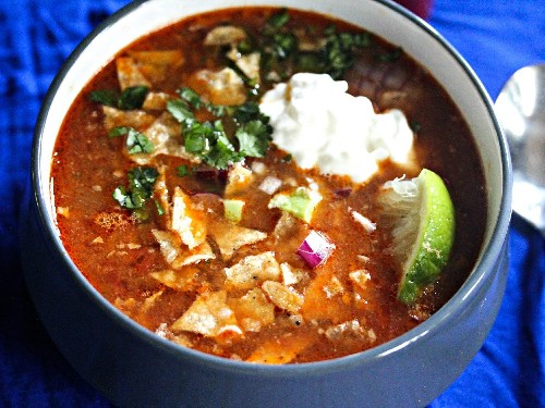 Slow-Cooker Chicken Tortilla Soup With All the Fixings Recipe