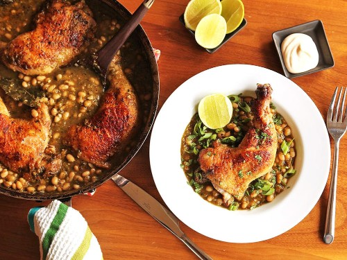 Crispy Braised Chicken With White Beans and Chile Verde Recipe