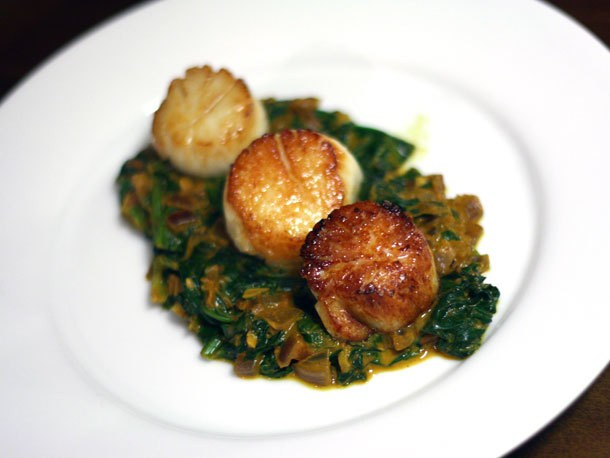 Seared Scallops With Indian Spinach Recipe