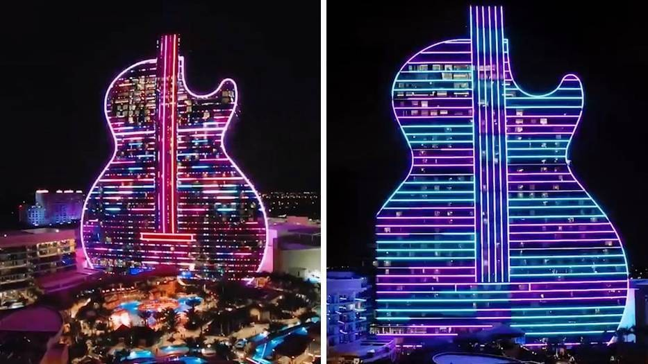 Weltweit erstes Hotel in Gitarren-Form: Hier können Rockfans stilecht übernachten