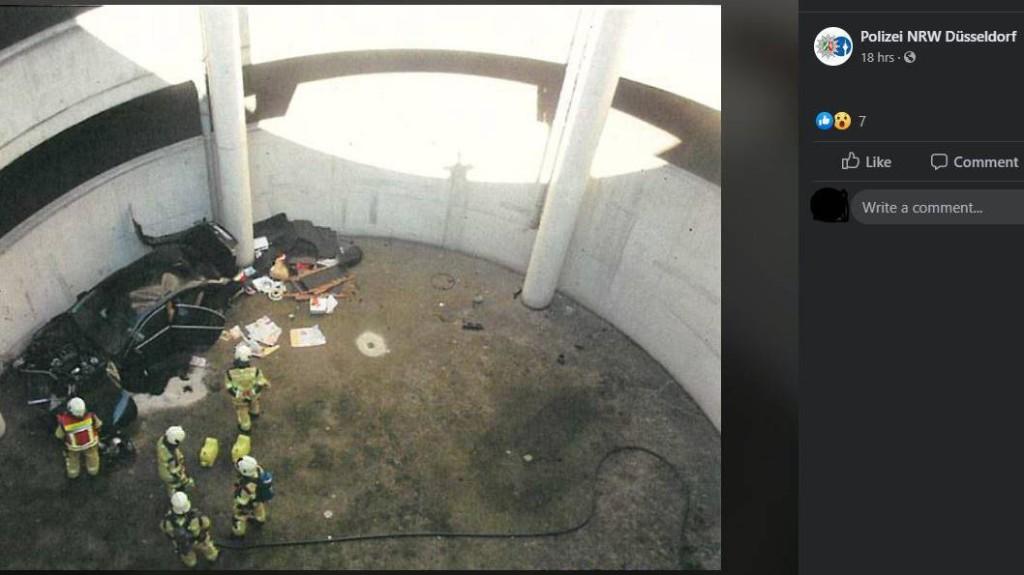 Autofahrer flüchtet vor der Polizei – und stürzt 16 Meter tief in Parkhaus