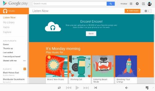 Google Play Music 将用户免费存储的歌曲数量上限从 2 万首增至 5 万首