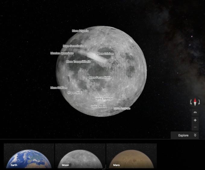 谷歌地图新增火星和月球探索功能