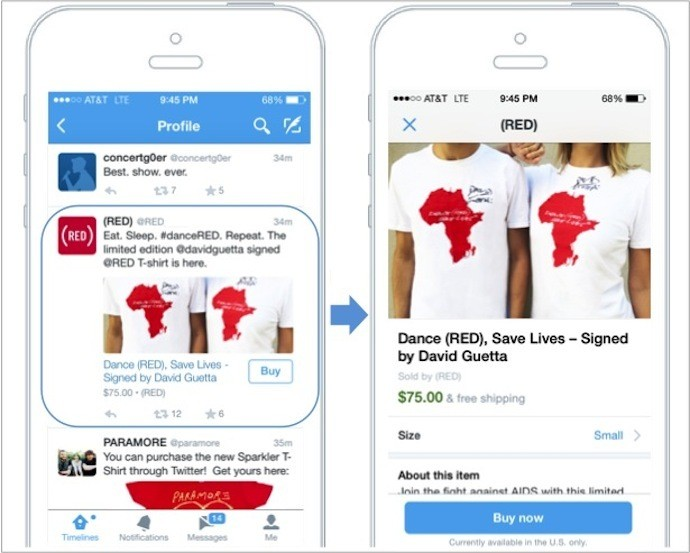"""Twitter Announces Its First Commerce Product — A """"Buy"""" Button On Mobile"""