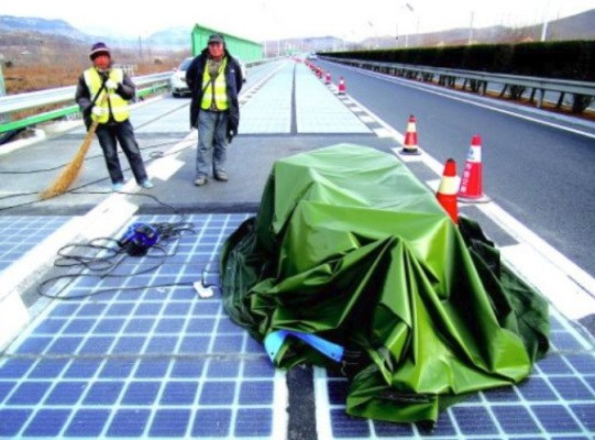 Someone stole a piece of China's new solar panel-paved road less than a week after it opened