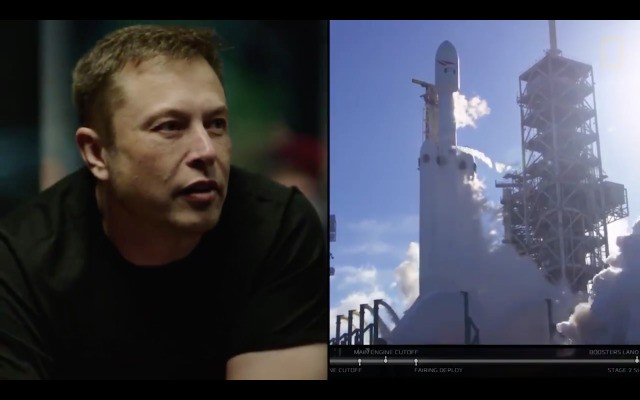 Here's a video of Elon Musk watching the Falcon Heavy take off