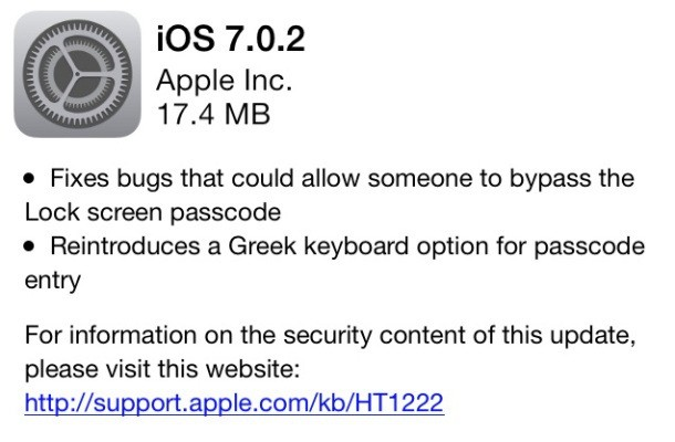 Apple Releases iOS 7.0.2 With Fixes For Lock Screen Bypass, Greek Passcode Keyboard