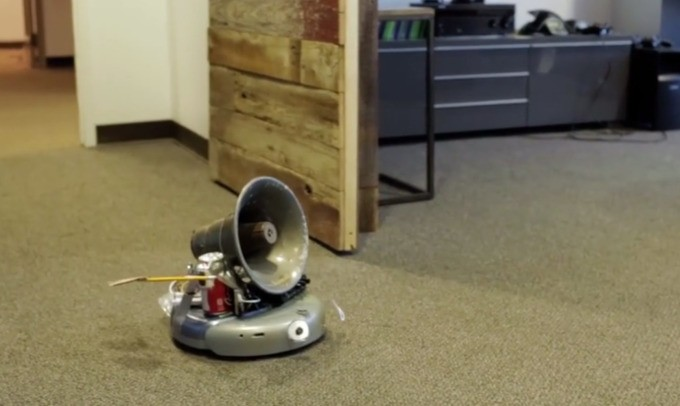Slackbot Bot Turns A Roomba And A Tornado Siren Into A Wonky Little Robot That DJs And Gives High Fives