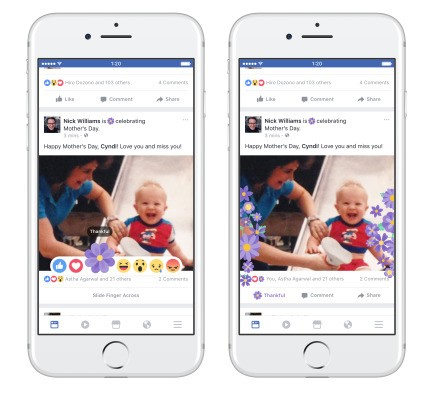 Facebook kicks off Mother's Day weekend with flower reactions, cards, stickers, masks and more