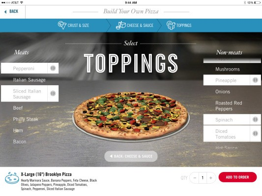 Domino's Launches Its Pizza Ordering App For iPad With 3D Custom Pizza Builder