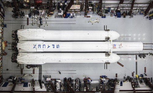 SpaceX's Falcon Heavy rocket sets up at Cape Canaveral ahead of launch