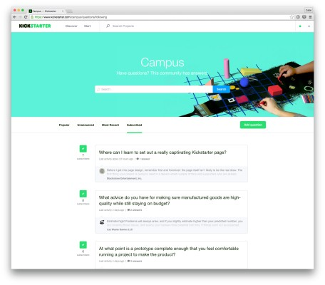 Kickstarter's 'Campus' Offers Project Creators Community Guidance