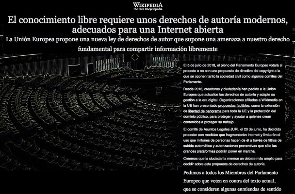 Wikipedia goes dark in Spanish, Italian ahead of key EU vote on copyright – TechCrunch