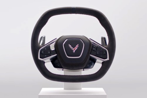 Behold, the mid-engine 2020 C8 Corvette's steering wheel