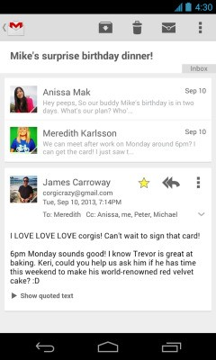 Gmail For Android Updated With Card-Style Layout