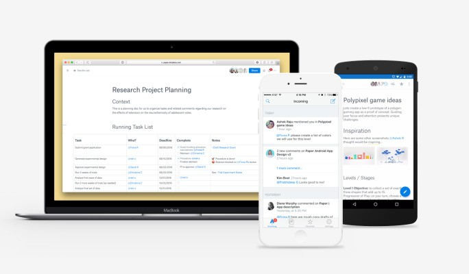 Dropbox launches an iPhone and Android version of its document-editing app Paper