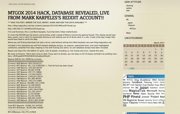 Mt.Gox Hack Allegedly Reveals Bitcoin Balances, Customer Account Totals