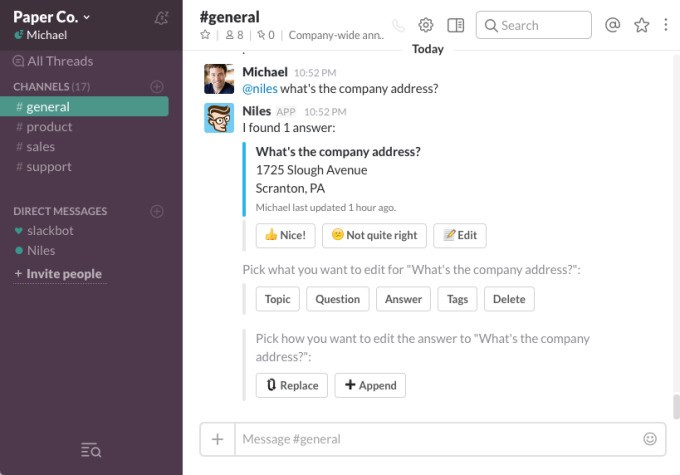 Niles is a Slack bot that learns your team's questions and answers them so you don't have to