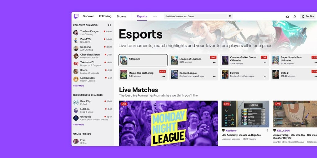Twitch launches an esports directory to cater to growing streaming audience