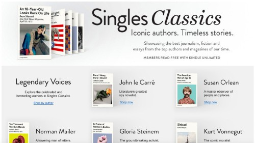 Amazon launches Singles Classics to resell timeless essays from top writers and magazines