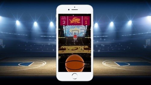 An NBA team is turning their scoreboard into an AR basketball game