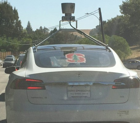 A Tesla Model S with Lidar spotted on the road around Palo Alto