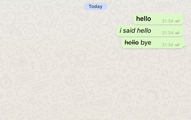 Now you can impress your friends with bold, italics and strikethrough in WhatsApp