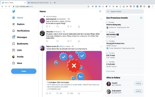Twitter tests out another desktop redesign with trends on the right, navigation on the left